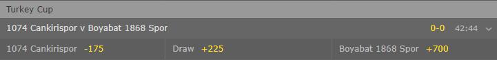 american type odds in the match between 1074 Cankirispor and Boyabat 1868 Spor