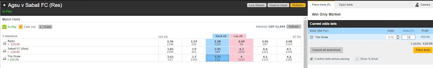 draw bet on Betfair exchange at odds of 3.75 of the match between Agsu and Sabail II