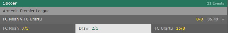 draw bet selection at odds of 2/1 in the match between FC Noah and FC Uratru