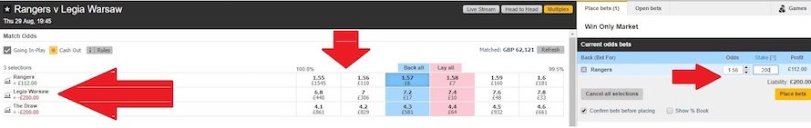 liquidity matched and available in Betfair exchange on the match between Rangers and Legia Warsaw