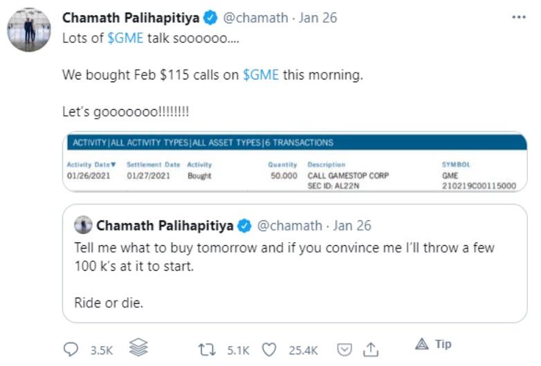 Chamath Tweet on gamestop